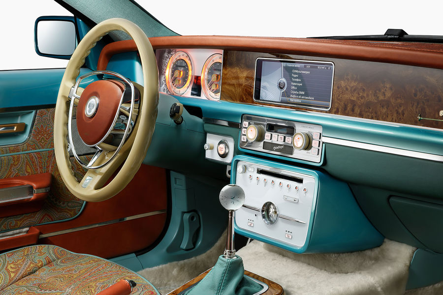 Bilenkin Vintage Innenraum Armaturen Lenkrad Farbig