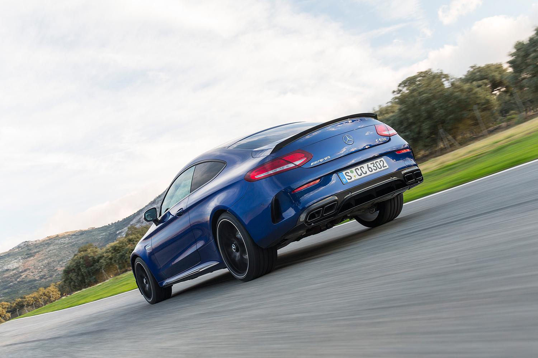 Mercedes-AMG C63S Heckansicht Auspuff