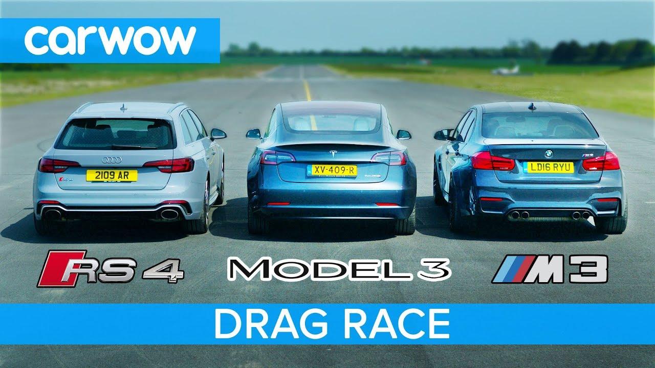 Drag Race Tesla Model 3 Vs Audi Rs4 Und Bmw M3